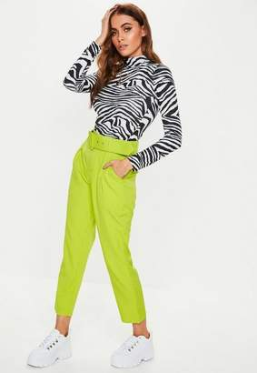 Missguided Lime Green Woven Belted Cropped Cigarette Trousers, Lime