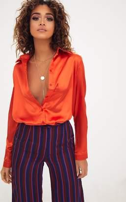PrettyLittleThing Orange Satin Button Front Shirt