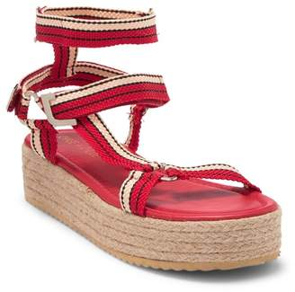 Chase & Chloe Espadrille Platform Sandal With Crossover Cord Straps