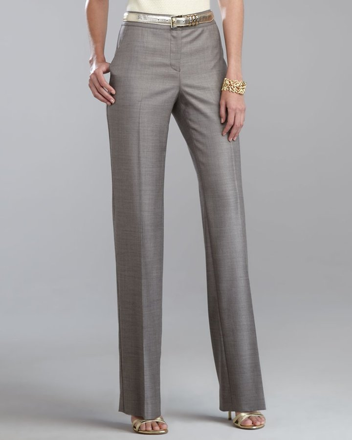 Shelley Tropical Wool Pants, Caviar/Walnut