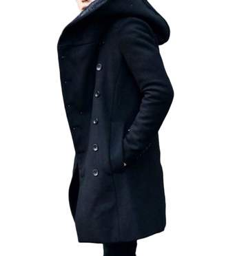 97e62ed834 Abetteric Men Double-Breasted Pea Coat Outwear Trenchcoat Topcoat S