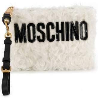Moschino textured clutch bag