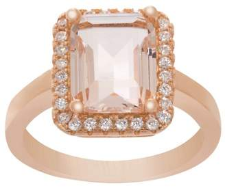 Lesa Michele Cubic Zirconia Halo Style Emerald Cut Simulated Morganite Center Engagement Ring in Rose Gold over Sterling Silver