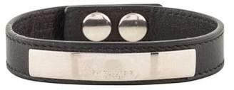 Saint Laurent Signature Plaque Leather Bracelet