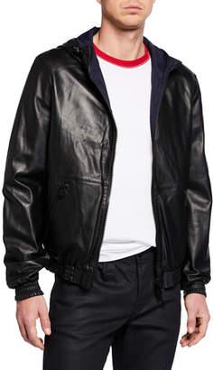 Yves Salomon Men's Reversible Leather/Nylon Hoodie Jacket