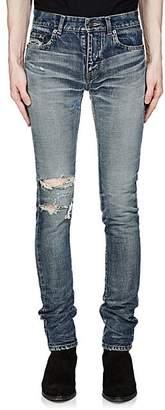 Saint Laurent Men's Distressed Skinny Jeans - Blue