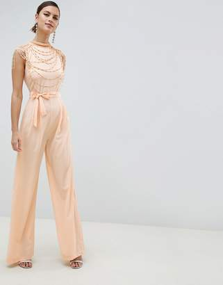 Asos Design High Neck Embellished Jumpsuit With Wide Leg