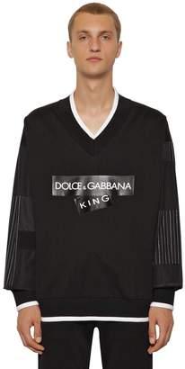 Dolce & Gabbana V-Neck Logo Tape Cotton Jersey Sweater