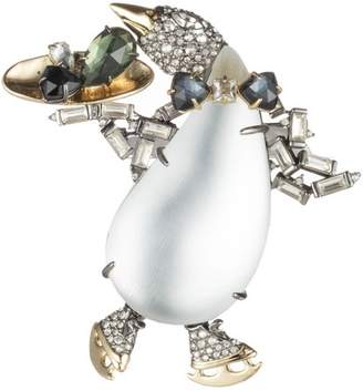 Alexis Bittar Crystal Encrusted Skating Penguin Pin