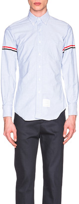Thom Browne Classic Button Down with Grosgrain Armbands in Blue | FWRD