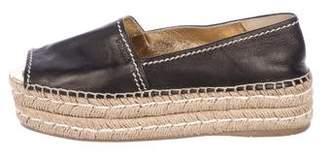 Prada Leather Platform Espadrilles