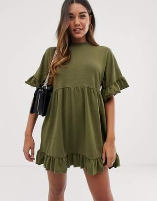 Asos Design DESIGN mini frill sleeve smock dress in sweat