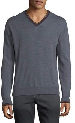 Etro Men's Collegiate V-Neck Wool Sweater