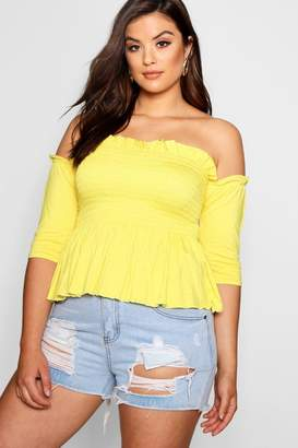 boohoo Plus Sheered Frill Sleeve Bandeau Top