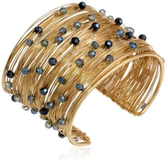 Panacea Crystal Flexible Gold Wire Cuff Bracelet