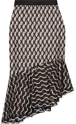 Lela Rose Ruffled Embroidered Mesh Skirt