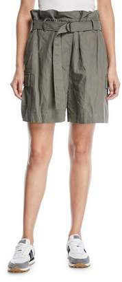 Brunello Cucinelli Cotton Paperbag Cargo Shorts with D-Ring Waistbelt