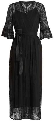 Muveil Belted floral-embroidered silk dress