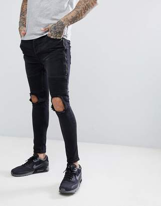 Brave Soul Black Blown Out Zipped Skinny Biker Jeans