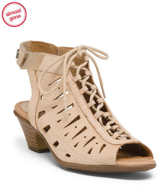 Leather Peep Toe Lace Up Sandals