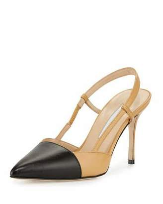 Manolo Blahnik Evocity Two-Tone Pointed-Toe Pump, Black/Beige $755 thestylecure.com
