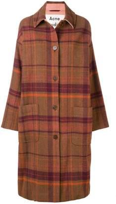 Acne Studios long plaid cocoon coat