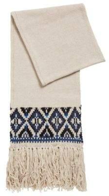 BOSS Hugo Fair Isle scarf in a blended boucle yarn One Size Open Beige