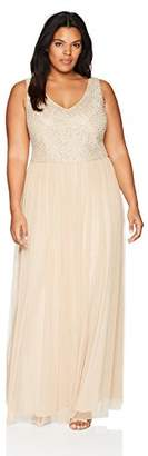 Adrianna Papell Women's Plus Size Beaded Long Dress With a Full Tulle Skirt