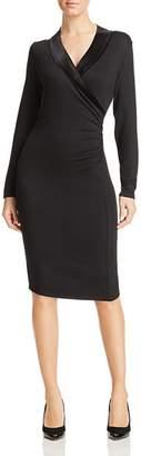 T Tahari Shirred Velvet Trim Dress