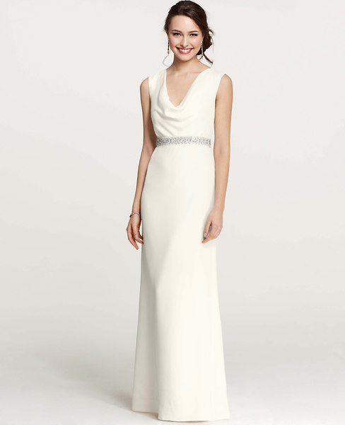 Ann Taylor Mya Cowl Neck Wedding Dress