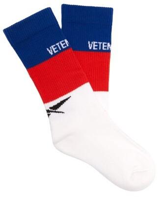 Vetements X Reebok Logo Intarsia Cotton Blend Socks - Mens - White