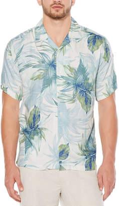 Cubavera Short Sleeve Rayon Window Pane Tropical Print Shirt