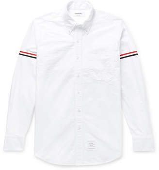 Thom Browne Slim-fit Button-down Collar Grosgrain-trimmed Cotton Oxford Shirt - White