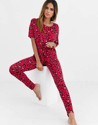 Asos Design DESIGN mix & match red animal print legging