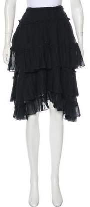 Hache Flounce Knee-Length Skirt