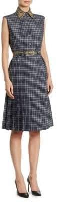 Thom Browne Windowpane Embroidery Shirt Dress