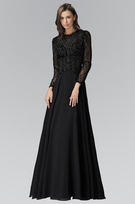 Elizabeth K - Long Sleeve Beaded Chiffon A-line Gown GL2097 $858 thestylecure.com