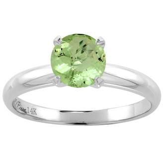 Sabrina Silver 14K White Gold Natural Peridot Solitaire Engagement Ring Round 7 mm, size 8