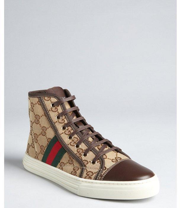 Gucci beige gg canvas web stripe high top sneakers