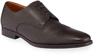 Bally Bruxelles Leather Cap-Toe Dress Shoe, Black