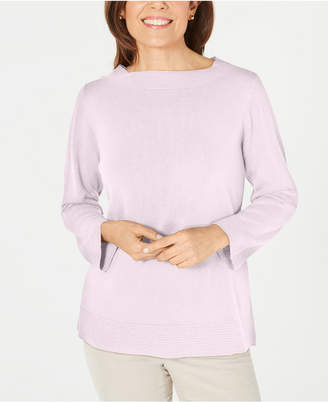 Karen Scott Bateau-Neck Long-Sleeve Sweater