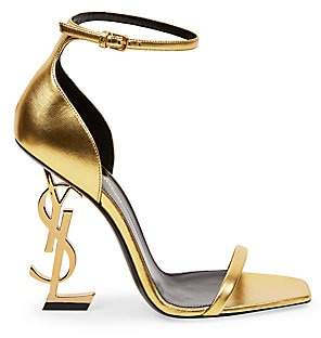 Saint Laurent Women's Opyum Logo Heel Leather Sandals