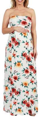 24/7 Comfort Apparel Lindsey Strapless White Floral Empire Waist Maternity Maxi Dres