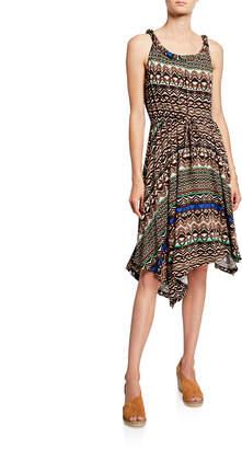 Neiman Marcus Twist-Neck Printed Dress Multicolor