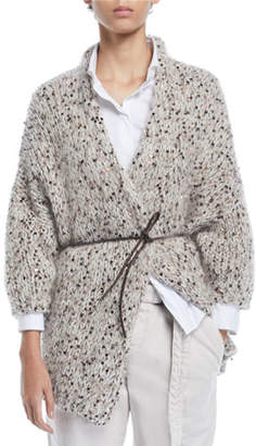 Brunello Cucinelli Shimmered Chunky-Knit Belted Cardigan