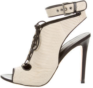 B Brian Atwood Snakeskin Lace-Up Booties $145 thestylecure.com