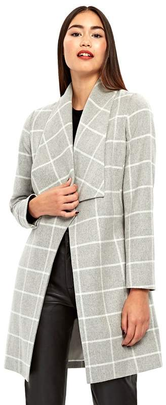 Grey Checked Belted Coat