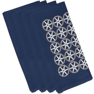 Simply Daisy, 19 x 19 Inch, Nautical Geo Square, Geometric Print Napkin (Set of 4), Navy Blue