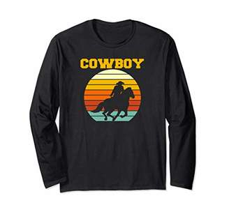 Vintage Western Rodeo Horse Gift Country Cowboy Long Sleeve T-Shirt
