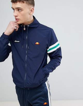 Ellesse Funnel Neck Jacket With Sleeve Stripe In Navy